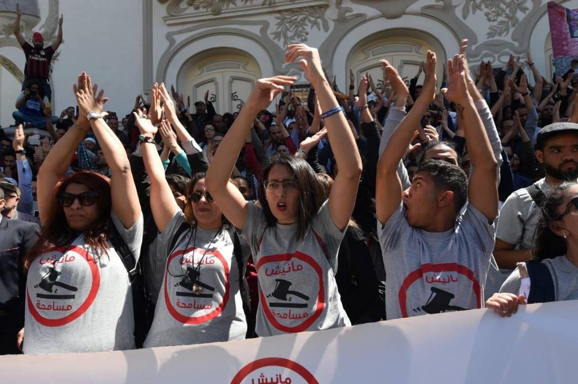 Manifestation contre une loi d'amnistie concernant la corruption financière sous le régime Ben Ali, Tunis, avril 2017.