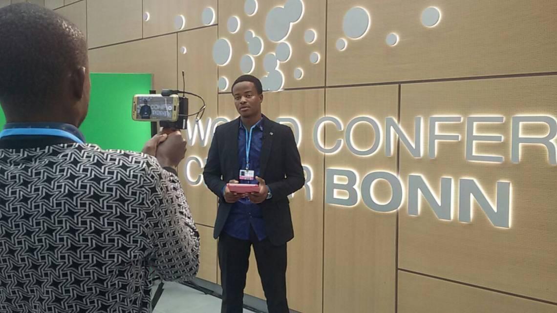 Mouhamadou Touré, journaliste de Studio Tamani et envoyé spécial de la Fondation Hirondelle à Bonn.