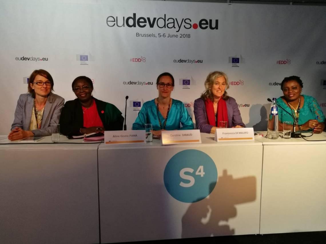"""Les participantes du panel """"Fostering gender equality via the radio: Radio Ndeke Luka in Central African Rep"""", lors des Journées Européennes du Développement à Bruxelles le 5 juin 2018."""