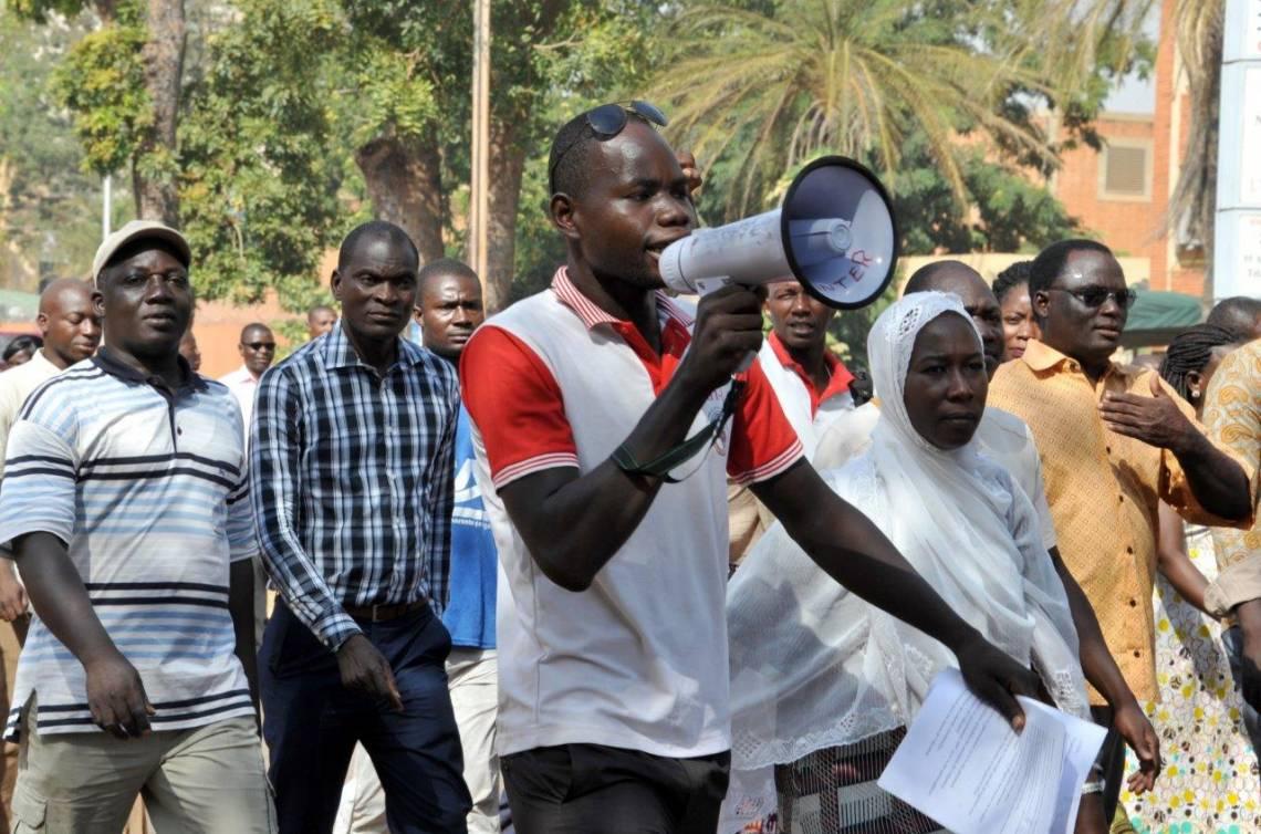 Lors d'une manifestation d'enseignants à Ouagadougou en octobre 2017.