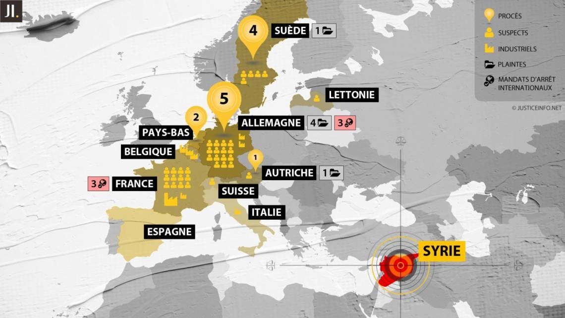 En Europe, 10 pays sont actifs sur le plan judiciaire, avec plus ou moins d'efficacité, face aux crimes internationaux commis en Syrie.