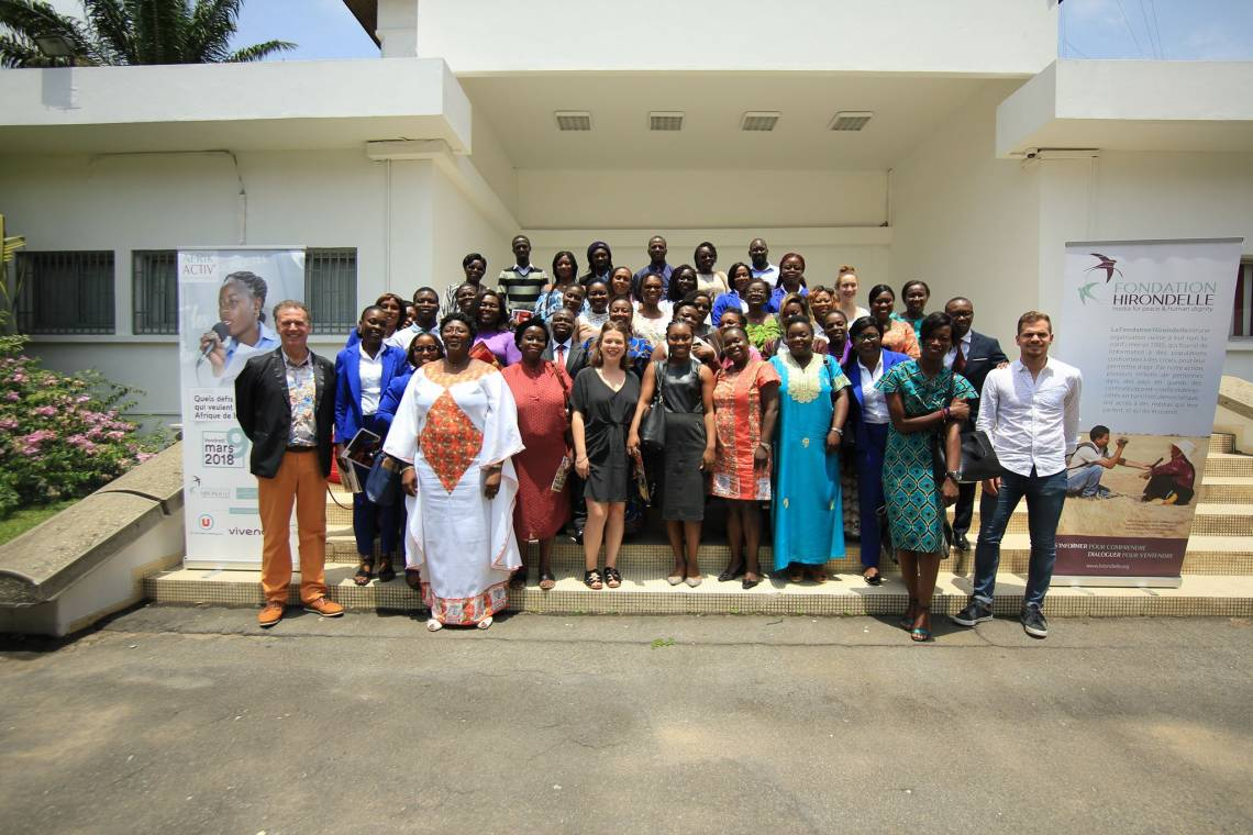 Following the debate organized by Fondation Hirondelle's Afrik Activ' project at the CCI of Abidjan on March 9, 2018.